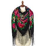 День Победы 235-18, павлопосадский платок (шаль) из уплотненной шерсти с шелковой вязанной бахромой, фото 2