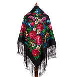 День Победы 235-18, павлопосадский платок (шаль) из уплотненной шерсти с шелковой вязанной бахромой, фото 3