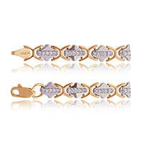 Элегантный женский золотой браслет из комбинированного золота с цирконами, Б052 Eurogold