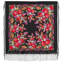 День Победы 235-19, павлопосадский платок (шаль) из уплотненной шерсти с шелковой вязанной бахромой