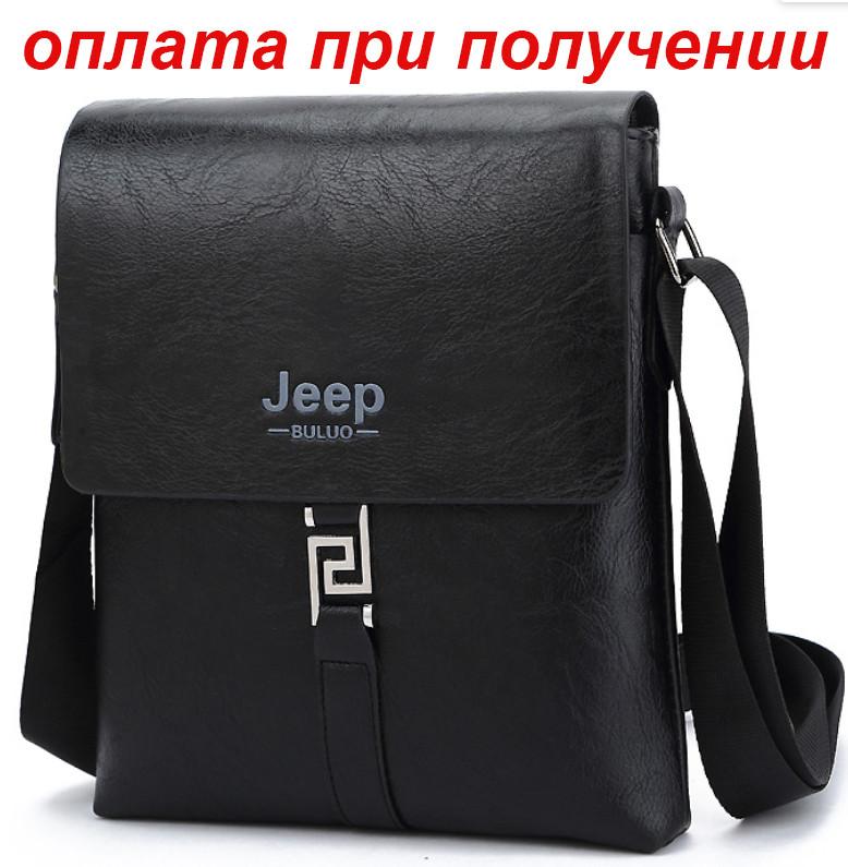 Мужская кожаная фирменная сумка барсетка через плечо Jeep