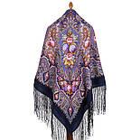 Миндаль 1369-13, павлопосадский платок (шаль) из уплотненной шерсти с шелковой вязанной бахромой, фото 10