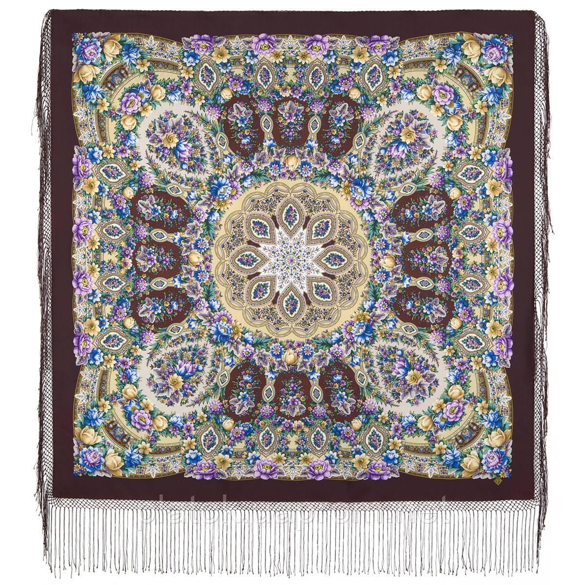 Злато-серебро 1731-17, павлопосадский платок (шаль) из уплотненной шерсти с шелковой вязанной бахромой