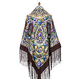 Злато-серебро 1731-17, павлопосадский платок (шаль) из уплотненной шерсти с шелковой вязанной бахромой, фото 3