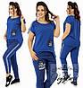 Женский  костюм больших размеров 48+ из комбинированной ткани джинс+двухнить, с декором /3 цвета  арт 6348-92, фото 3