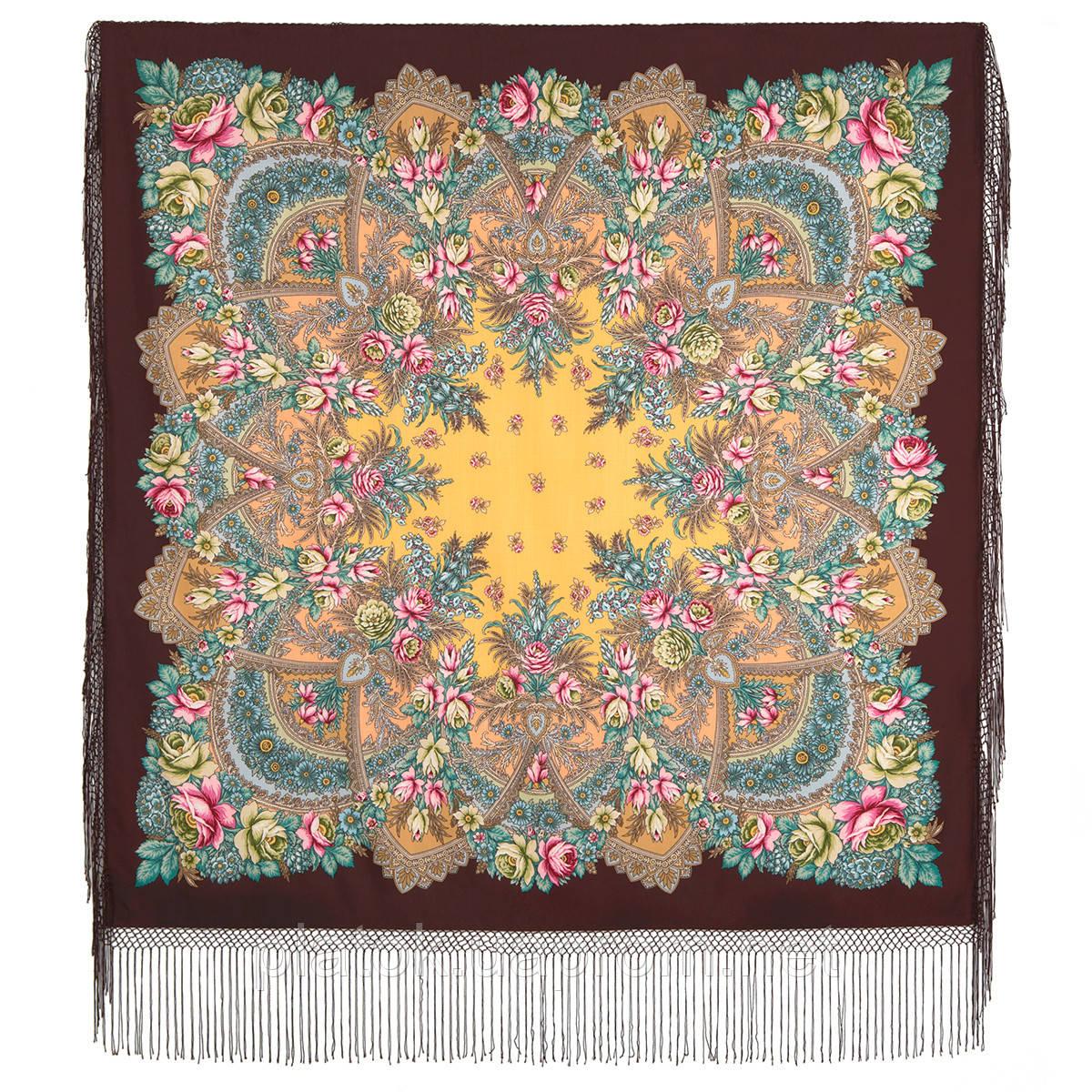 Июньское утро 1028-17, павлопосадский платок (шаль) из уплотненной шерсти с шелковой вязанной бахромой