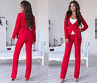 63e455516d4bfbe Элегантный брючный костюм ТРОЙКА майка, брюки и пиджак на запах / 7 цветов  арт 6355
