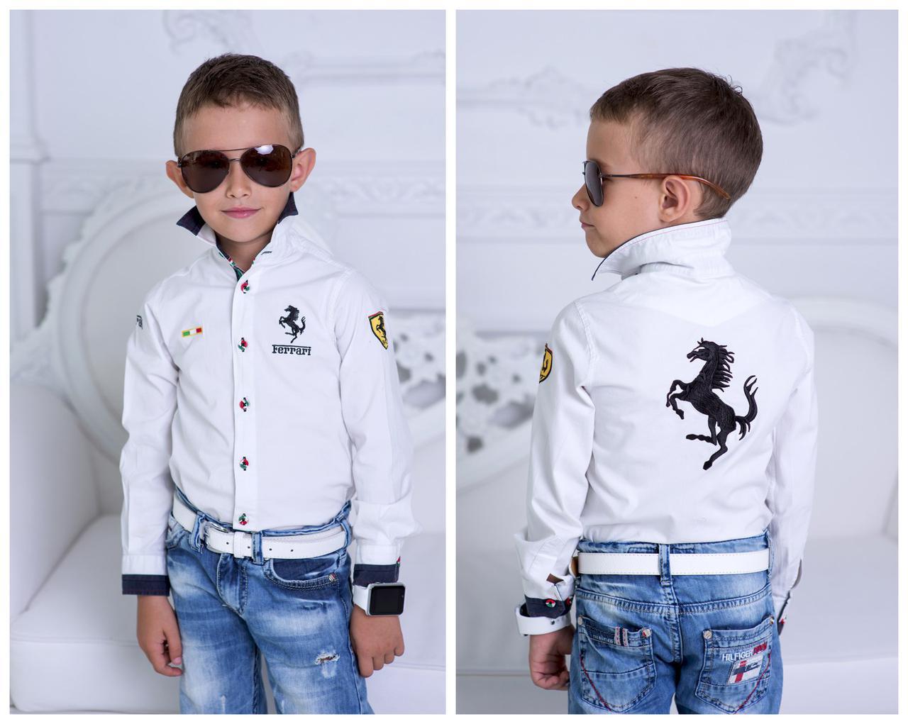 Рубашка  детская Ferrari,турецкая рубашечная ткань 100% хлопок Манжеты на рукавах,