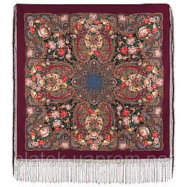 Любовь земная 1760-6, павлопосадский платок (шаль) из уплотненной шерсти с шелковой вязанной бахромой