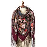 Любовь земная 1760-6, павлопосадский платок (шаль) из уплотненной шерсти с шелковой вязанной бахромой, фото 2