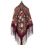 Любовь земная 1760-6, павлопосадский платок (шаль) из уплотненной шерсти с шелковой вязанной бахромой, фото 3