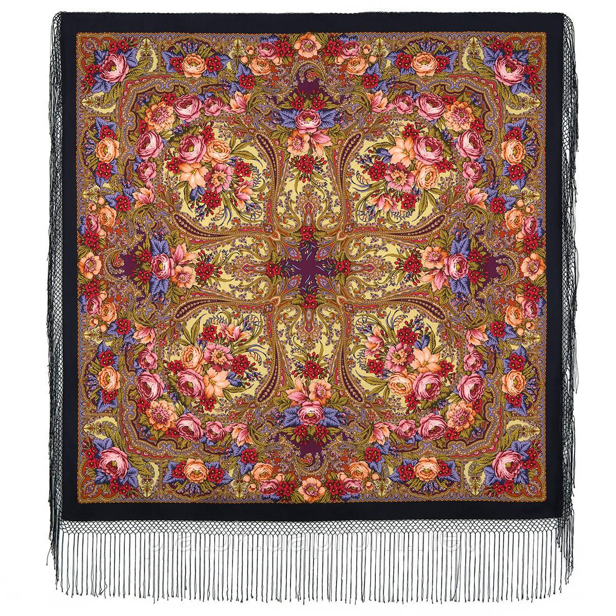 Счастливица 1122-16, павлопосадский платок (шаль) из уплотненной шерсти с шелковой вязанной бахромой