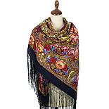 Счастливица 1122-16, павлопосадский платок (шаль) из уплотненной шерсти с шелковой вязанной бахромой, фото 2