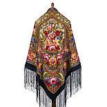 Счастливица 1122-16, павлопосадский платок (шаль) из уплотненной шерсти с шелковой вязанной бахромой, фото 5