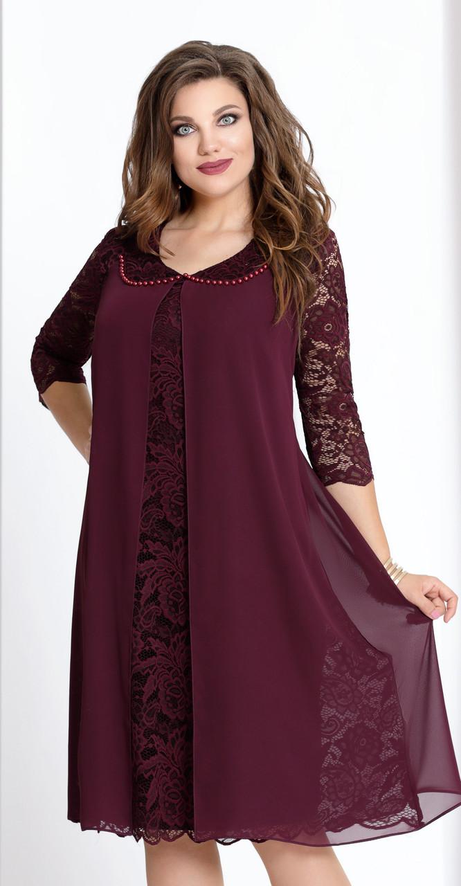 Платье Vittoria Queen-943/6 белорусский трикотаж, бордо, 56