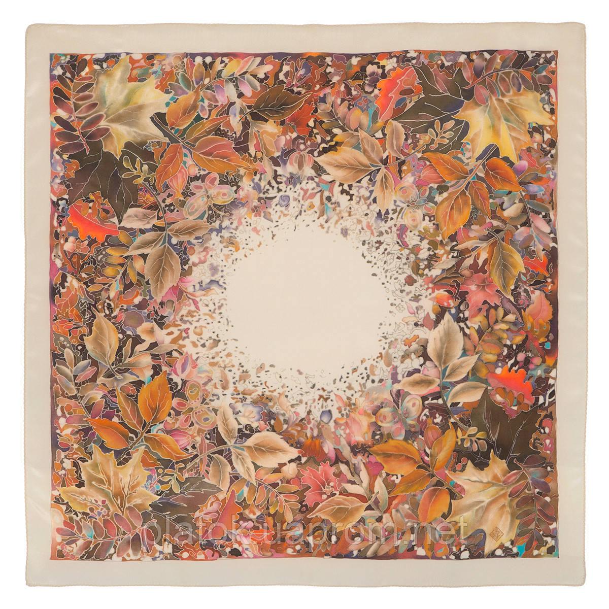 Осенний мотив 10293-2, павлопосадский шейный платок (крепдешин) шелковый с подрубкой