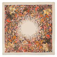 Осенний мотив 10293-2, павлопосадский шейный платок (крепдешин) шелковый с подрубкой, фото 1