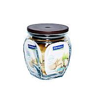 Стеклянный контейнер-банка для хранения сыпучих продуктов с крышкой Glasslock, 350 мл., квадратный, коричневый (IP537)