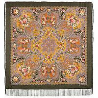 Музыка моря 1755-10, павлопосадский платок шерстяной  с шелковой бахромой, фото 1