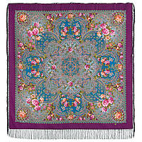 Музыка моря 1755-15, павлопосадский платок шерстяной  с шелковой бахромой, фото 1