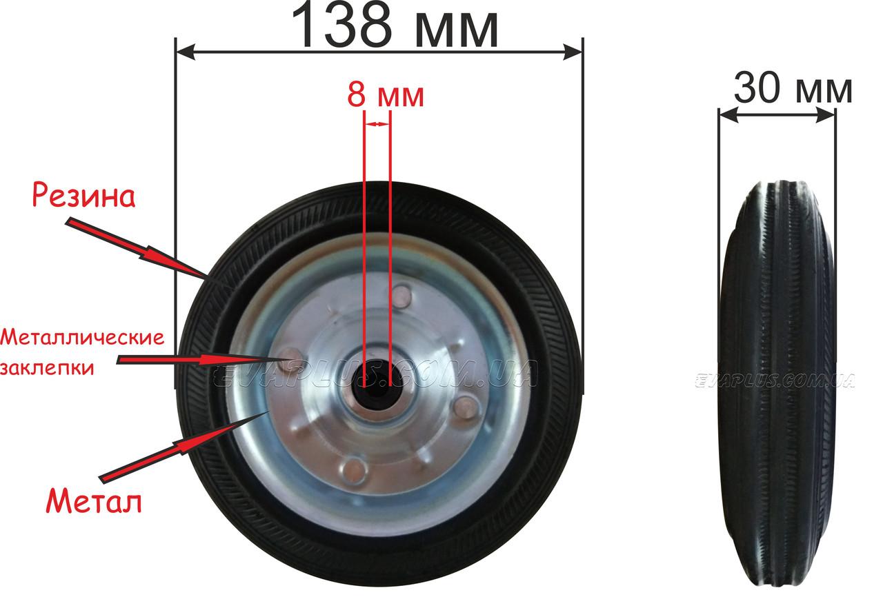 Колеса для візка 138 мм (метал)