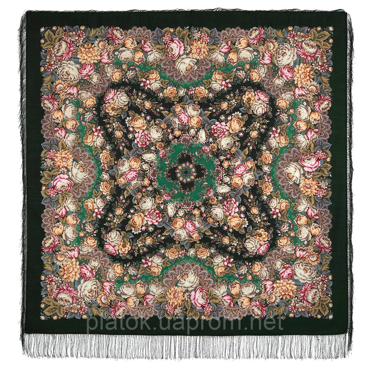 Цветочные бусы 1797-9, павлопосадский платок шерстяной  с шелковой бахромой