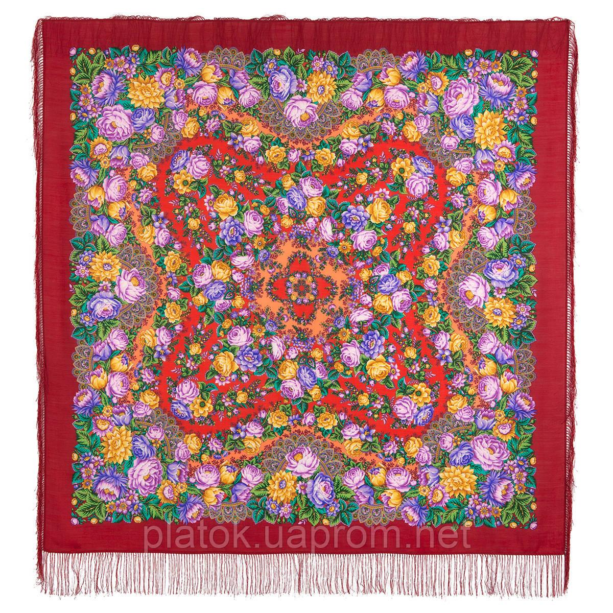 Цветочные бусы 1797-5, павлопосадский платок шерстяной  с шелковой бахромой