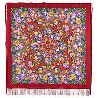 Цветочные бусы 1797-5, павлопосадский платок шерстяной  с шелковой бахромой, фото 1