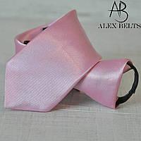 Галстук детский однотонный на змейке (розовый)-купить оптом