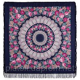 Молитва 353-15, павлопосадский платок шерстяной  с шерстяной бахромой