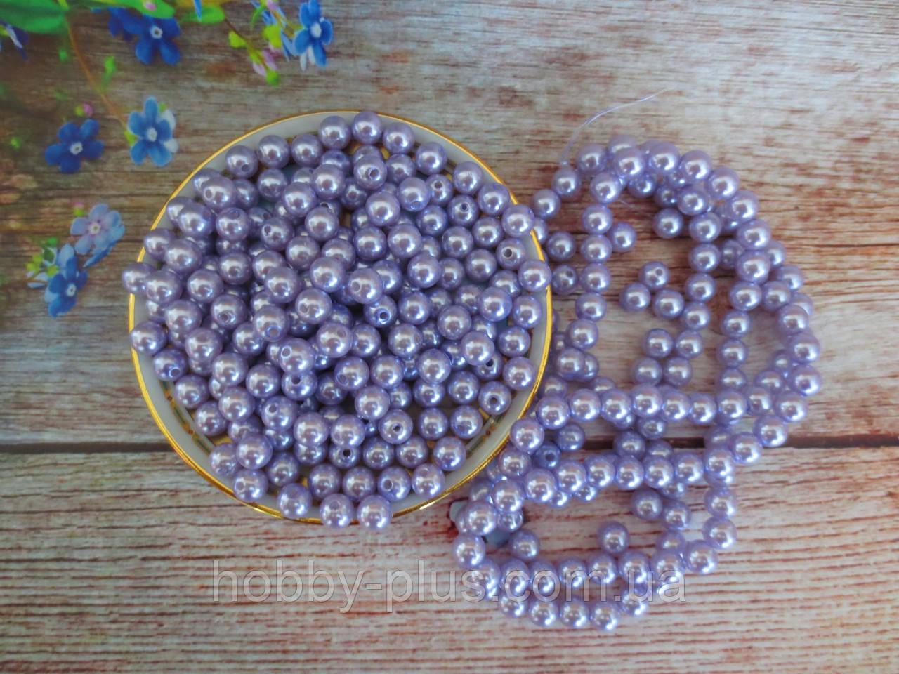 Жемчуг дорогой искусственный, 8 мм, цвет сиреневый, 10 грамм, (~40 шт).