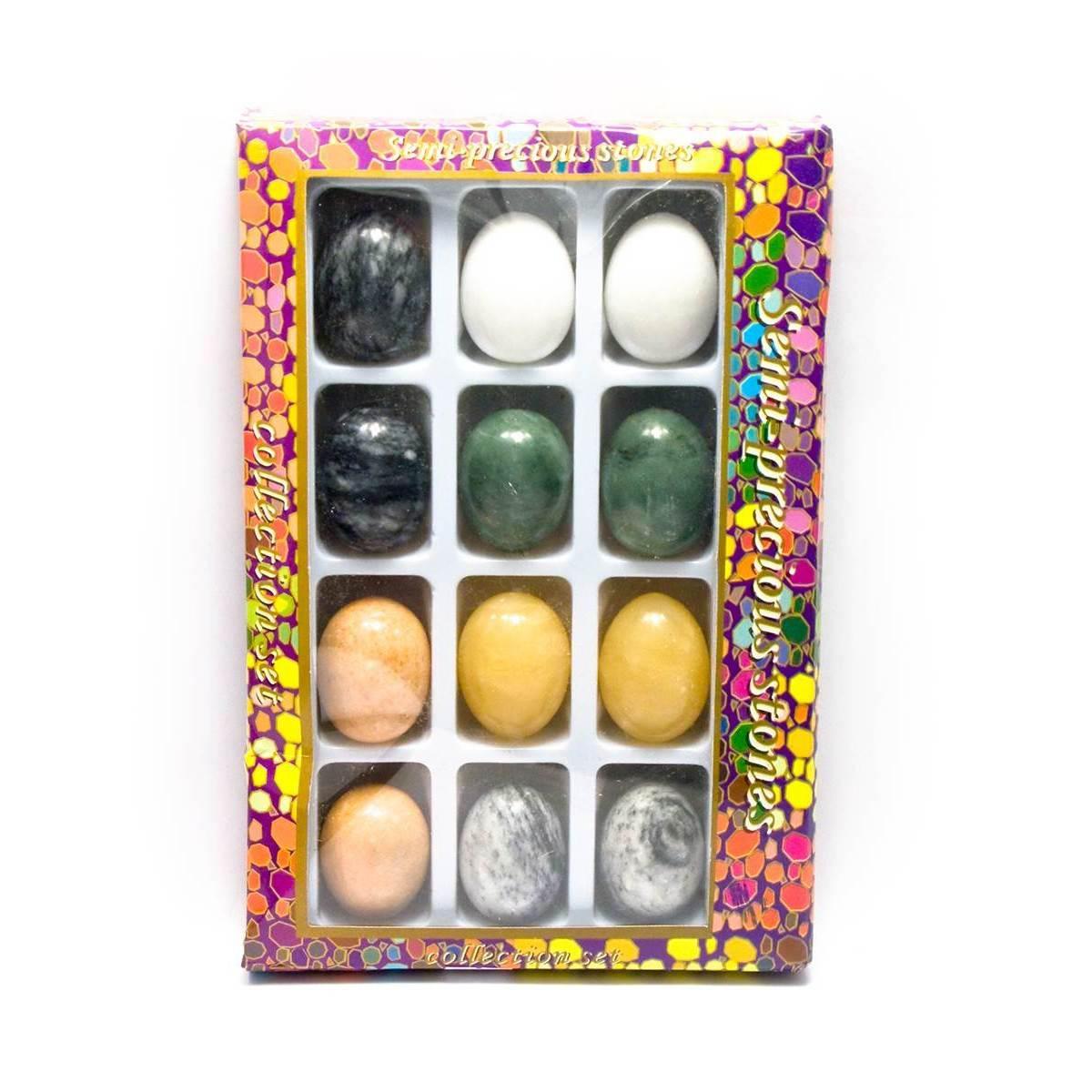 Набор натуральный камней в форме яйца 12 шт