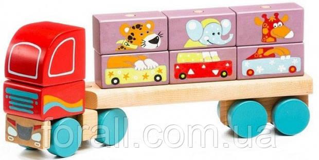 Тягач с Кубиками LM-14 Деревянная игрушка Левеня Cubika №13432