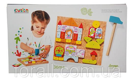 Развивающая игра Аппликация для девочки с молоточком CUBIKA, игрушки из дерева №13890-2