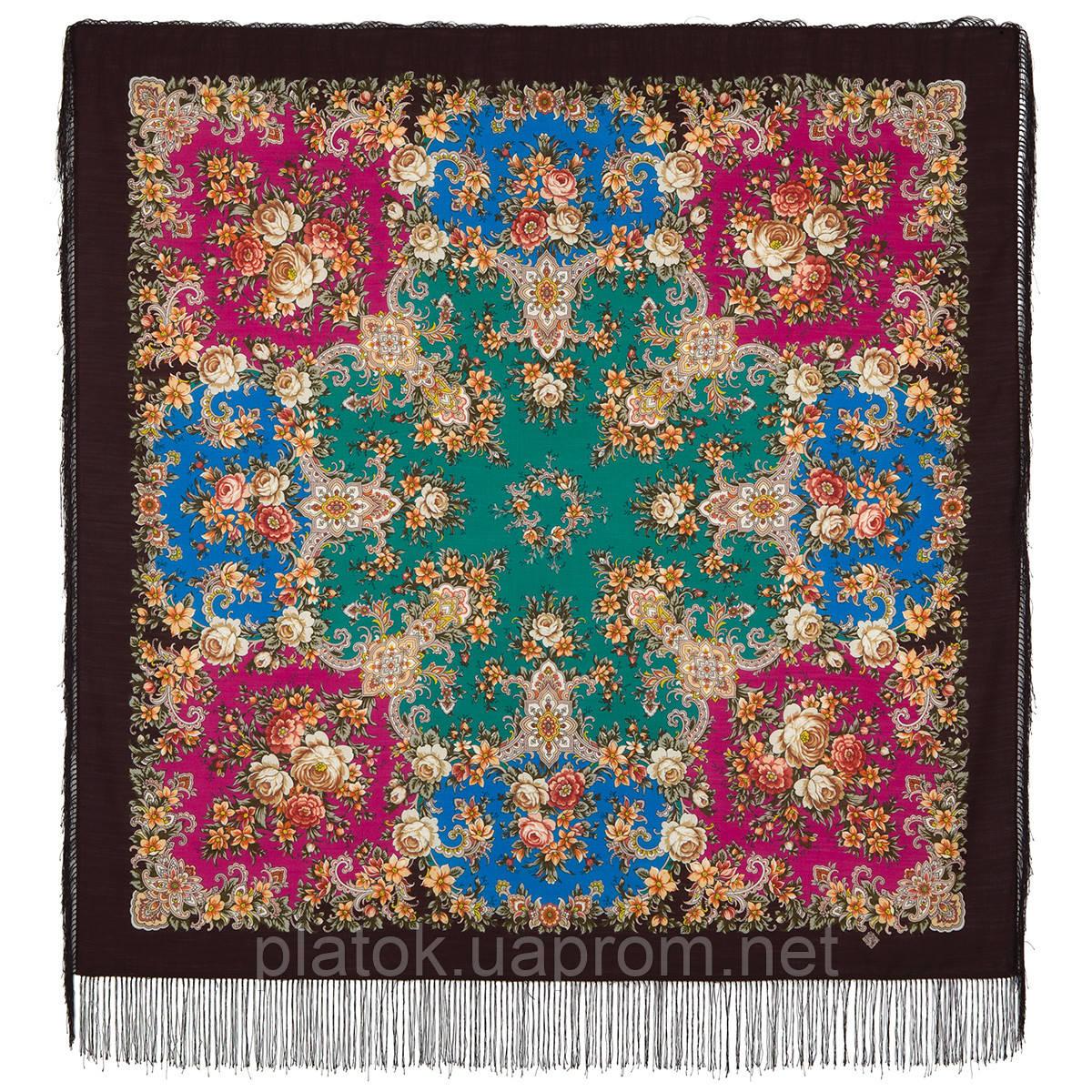 Услада 1726-17, павлопосадский платок шерстяной с шелковой бахромой