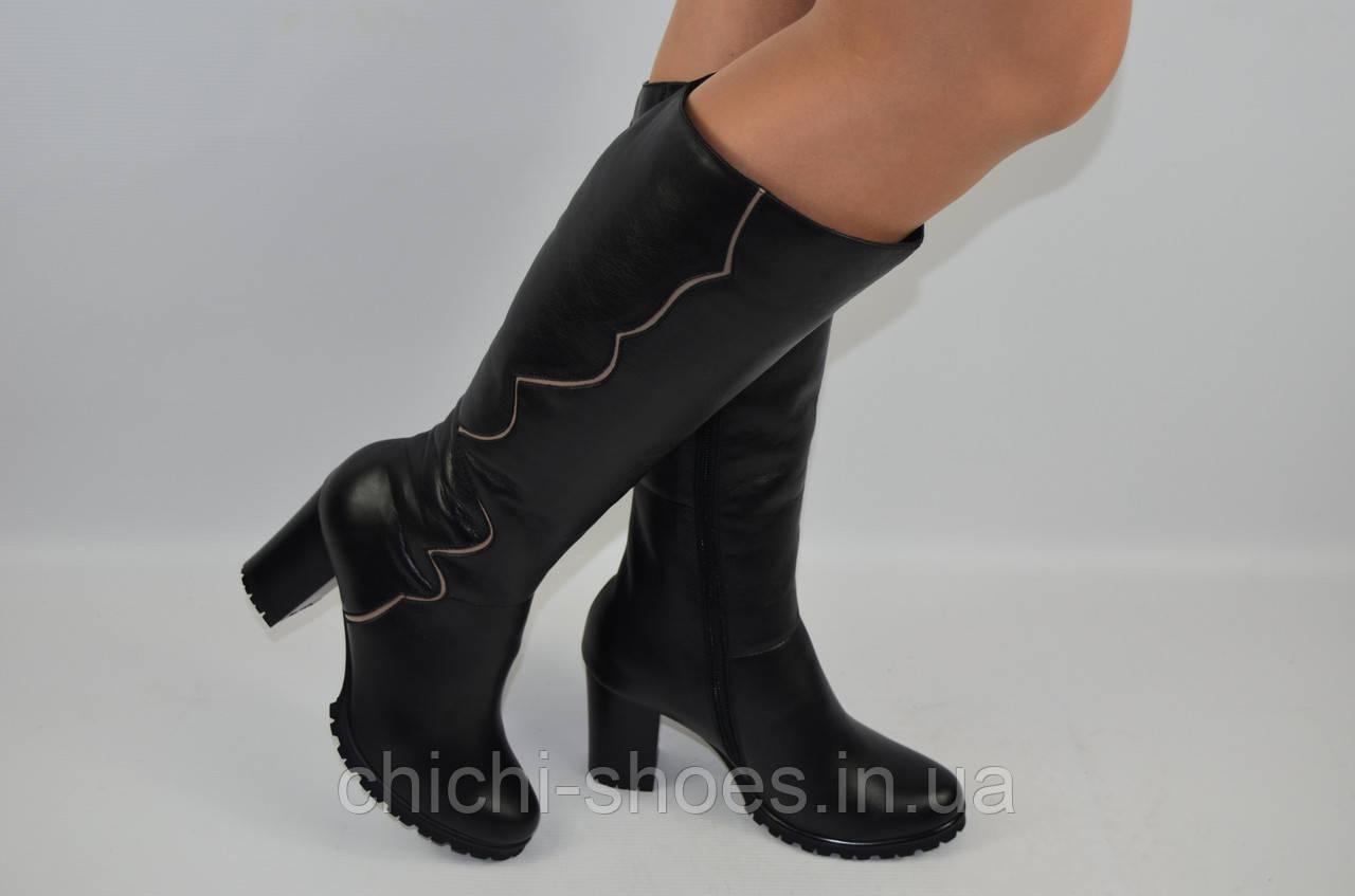 Сапоги женские зимние Alamo 1-46 чёрные кожа каблук