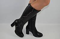 Сапоги женские зимние Alamo 1-46 чёрные кожа каблук, фото 1