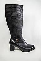 Сапоги женские зимние Alamo 1-8 чёрные кожа каблук