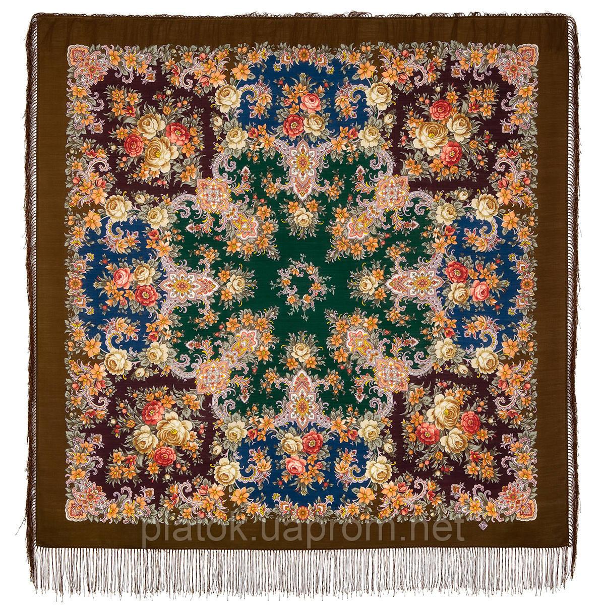 Услада 1726-16, павлопосадский платок шерстяной с шелковой бахромой