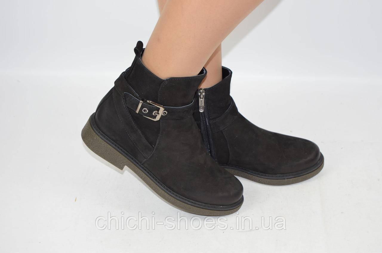 Ботинки женские зимние Leader Style 2558-1 чёрные замша низкий ход