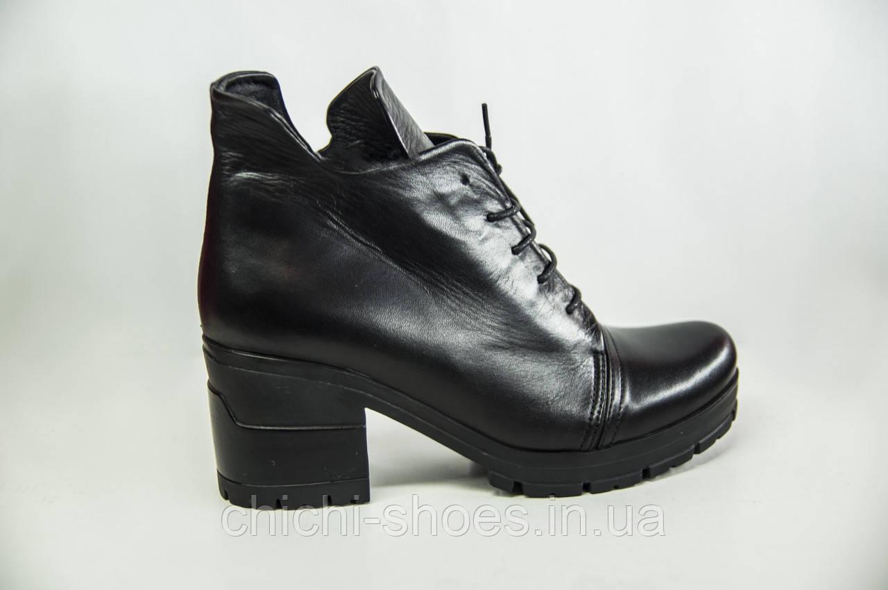 Ботильоны женские ROCCOL 6640 чёрные кожа каблук
