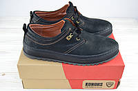Туфли мужские  нубук чёрный  на шнурках Konors 641-04-19