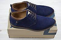 Туфли мужские нубук синий на шнурках 1819-221