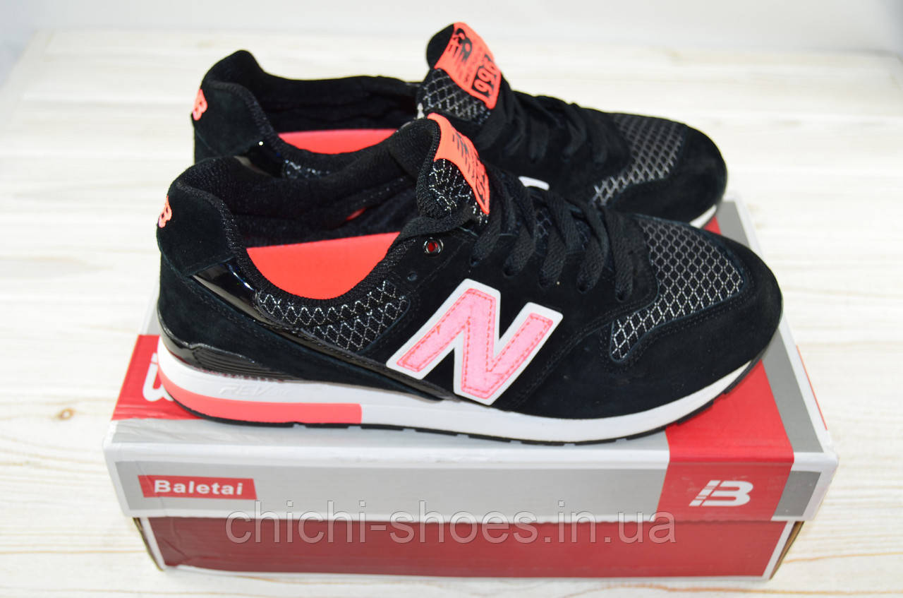 Кроссовки подростковые New Balance 12-14 чёрно-розовые текстиль