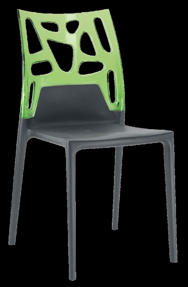 Стул Papatya Ego-Rock антрацит сиденье, верх прозрачно-зеленый