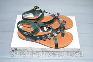 Босоножки женские низкий ход зелёный кожа La Pinta 787-043-17