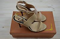 Босоножки женские Mativi 025-08 бежевые кожа каблук, фото 1