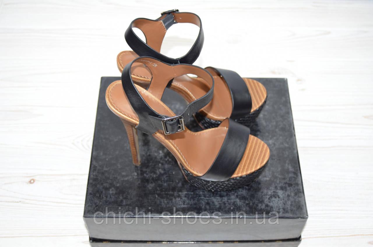 Босоножки женские Basconi 0230 чёрные кожа каблук