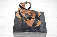 Босоножки женские каблук чёрные кожа
