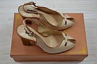 Босоножки женские Mativi 80-7 бежевые кожа каблук, фото 1